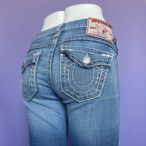 True Religion Y2K White Stitch Jeans